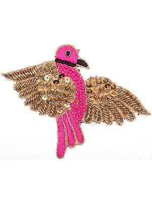 Carmine-Pink Parrot Zardosi Patch with Embroidered Sequins