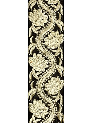 Caviar-Black Zari-Embroidered Flower Vine Fabric Border