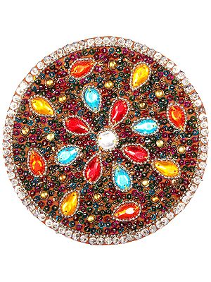 Multicoloured Stones and Sequins Embellished Round Patch