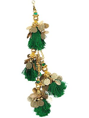 Designer Golden Latkan (Tassel) Pair with Silk Fringes and Pearls
