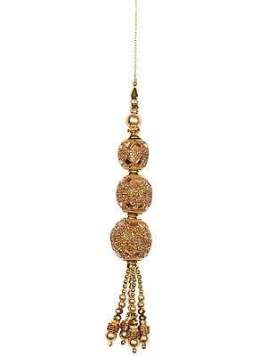 Designer Golden Latkan (Tassel) Pair with Embellished Stones and Pearls
