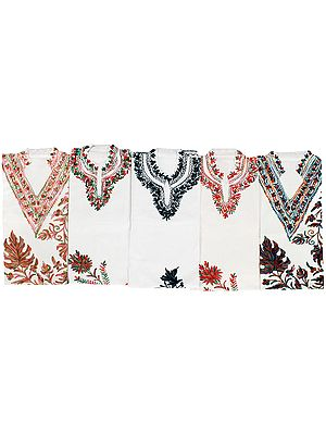 Lot of Five Tops with Kashmiri Embroidery by Hand