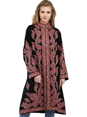 Black and Woodrose Long Kashmiri Jacket with Ari Hand-Embroidered Paisleys
