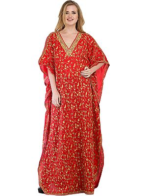 True-Red Kashmiri Kaftan with Ari Hand-Embroidered Paisleys