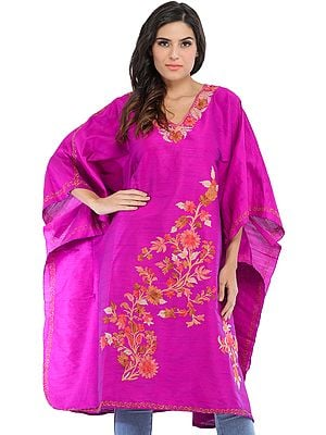 Purple-Orchid Kashmiri Short Kaftan with Ari-Embroidered Flowers Bud