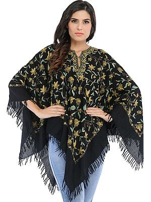 Phantom-Black Poncho from Kashmir with Ari Hand-Embroidered Flowers All-Over