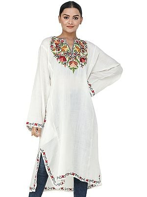 Kashmiri Phiran with Ari Hand-Embroidery on Neck