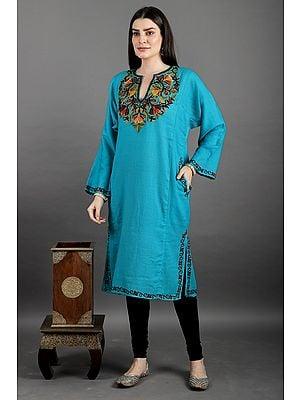 Kashmiri Phiran with Ari Hand-Embroidery on Neck