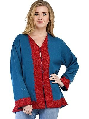 Steel-Blue Kashmiri Jacket with Ari Hand-Embroidered Paisleys in Red Color Thread