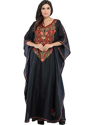 Phantom-Black Kashmiri Kaftan with Ari Hand-Embroidered Flowers and Paisleys on Neck