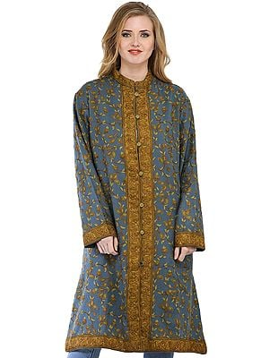 Storm Blue Long Kashmiri Jacket with Ari Hand-Embroidered Paisleys