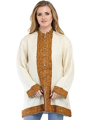 Beige and Brown Long Kashmiri Jacket with Ari Hand-Embroidered Paisleys