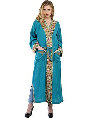 Mosaic Blue Kashmiri Robe with Ari Floral-Embroidery by Hand