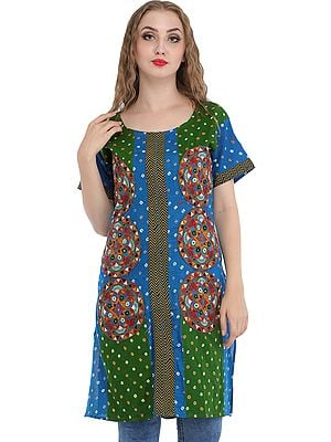 Green and Sky Blue Bandhani Tie-Dye Kurti with Embroidered Patches