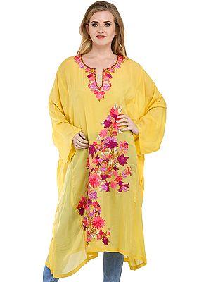 Primrose Yellow Kashmiri Sheer Phiran with Ari Floral-Embroidery