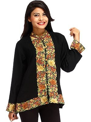 Caviar-Black Jacket from Kashmir with Ari Embroidered Flowers