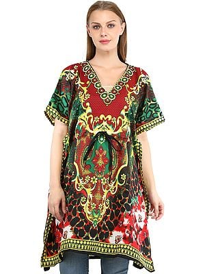 Short Kaftan with Printed Florals All-Over and Dori at Waist