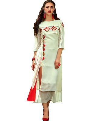 Pearled-Ivory Long Kurti with Pleated Side and Floral Embroidery