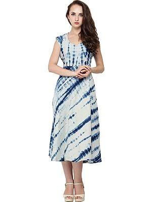Sterling-Blue Batik Dyed Dress with Dori on Back