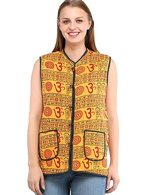 Marigold and Iris-Orchid Reversible Waistcoat from Pilkhuwa with Printed OM and Florals