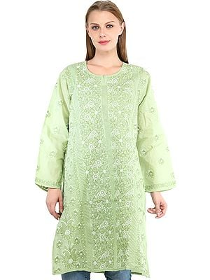Forest-Shade Kurti with Lukhnavi Chikan Embroidery All-Over
