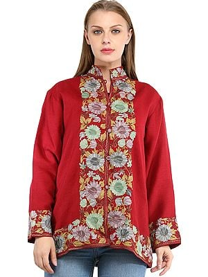 Earth-Red Jacket from Kashmir with Ari Embroidered Flowers
