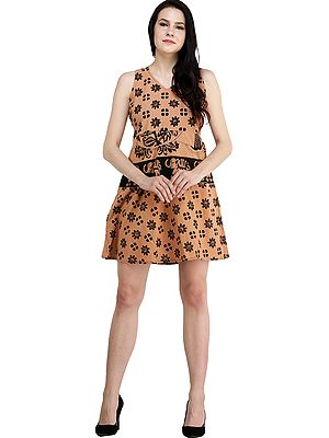 Dusty-Coral Florals and Elephant Printed Short Dress with Dori on Back