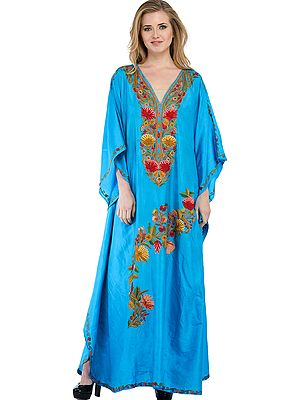 Hawaiian-Ocean Long Kashmiri Kaftan with Ari Hand-Embroidered Flowers