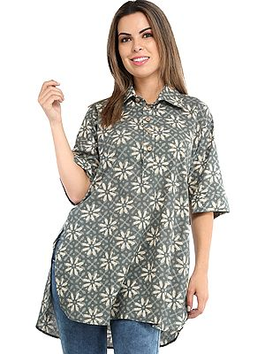Sea-Spray Summer Tunic Shirt with Block Printed Florals All-Over