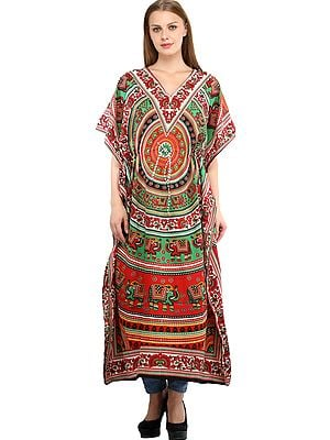 Long Printed Kaftan with Printed Colorful Florals and Elephants