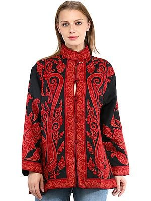Caviar-Black Jacket from Kashmir with Ari Hand-Embroidered Paiselys in Red Colored Thread