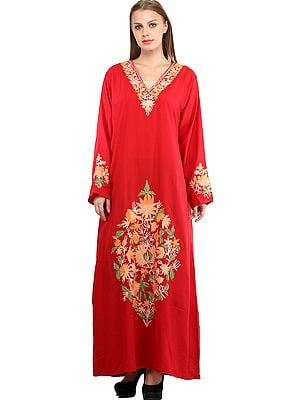 High-Risk Red Long Gown from Kashmir with Ari Embroidered Flowers