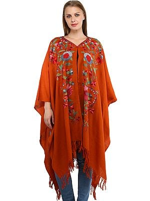 Burnt-Orange Cape from Kashmir with Ari Embroidered Flowers by Hand