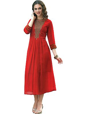 High-Risk Red Long Pleated Kurti with Zari Embroidery on Neck