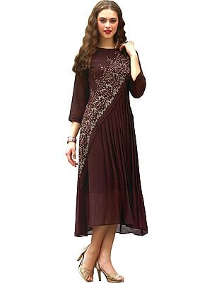 Chestnut Long Pleated Kurti with Ari-Embroidered Florals and Brown Beads