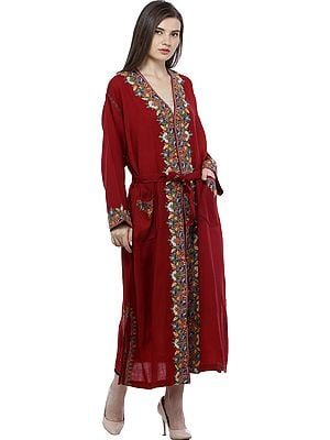 Garnet-Red Kashmiri Robe with Ari Floral-Embroidery by Hand