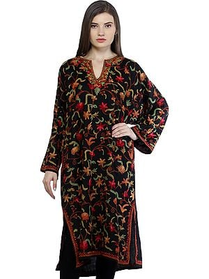 Caviar-Black Kashmiri Phiran with Ari Floral-Embroidery by Hand