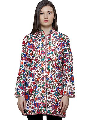 Ivory Jacket from Amritsar with Ari Embroidered Honey Bees in Multi-Colored Thread