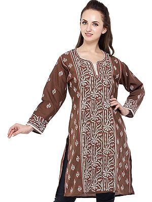 Acorn-Brown Kurti with Lukhnavi Chikan Embroidered Flowers and Bootis