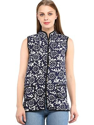 Twilight-Blue and White Reversible Jacket from Pilkhuwa with Printed Flowers