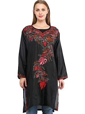 Phantom-Black Long Kurti from Kashmir with Ari Embroidered Flowers and Maple Leaves
