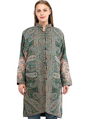 Alpine-Green Kani Jamawar Long Jacket from Amritsar with Woven Paisleys and Florals