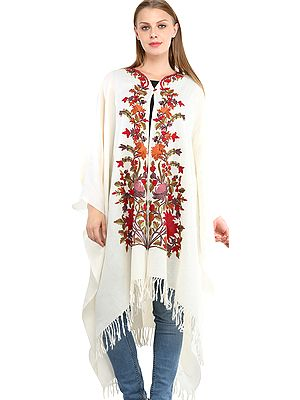 Floral-White Cape from Kashmir with Ari Embroidered Flowers by Hand