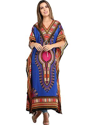 Long Printed Kaftan with Colorful African Print