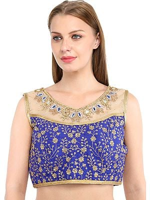 Golden Embroidered Wedding Choli From Jodhpur with Crystals and Mirrors
