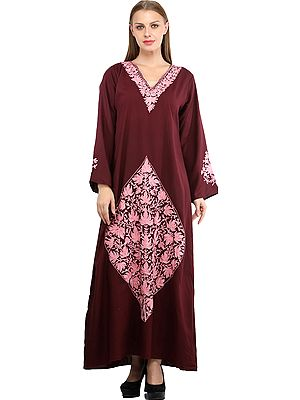 Windsor-Wine Long Gown from Kashmir with Ari Embroidered Flowers