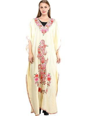 Double-Cream Kaftan from Kashmir with Ari Embroidered Flowers and Paisleys