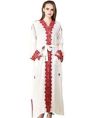 Kashmiri Robe with Ari Embroidered Paiselys and Florals