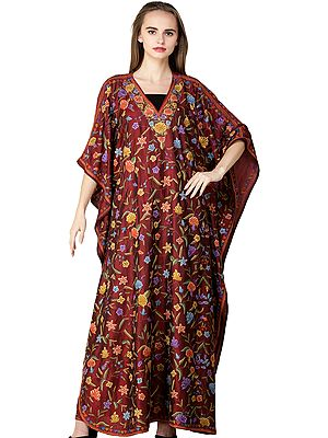 Rosewood Kaftan from Kashmir with Ari Embroidered Flowers and Paisleys
