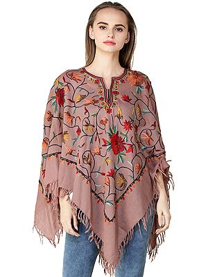 Poncho from Kashmir with Ari Hand-Embroidered Flowers All-Over